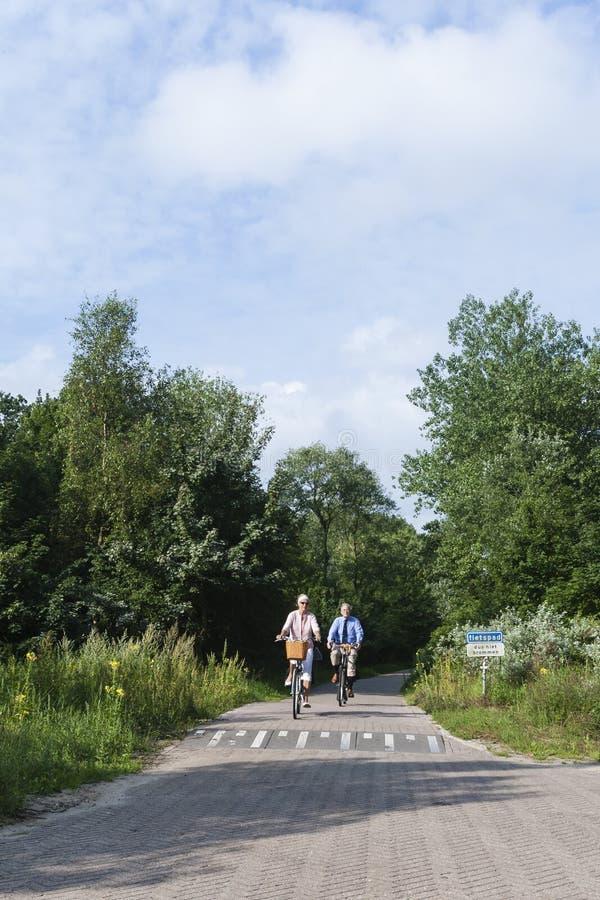 Seniors cyclists at Meijendel stock photo