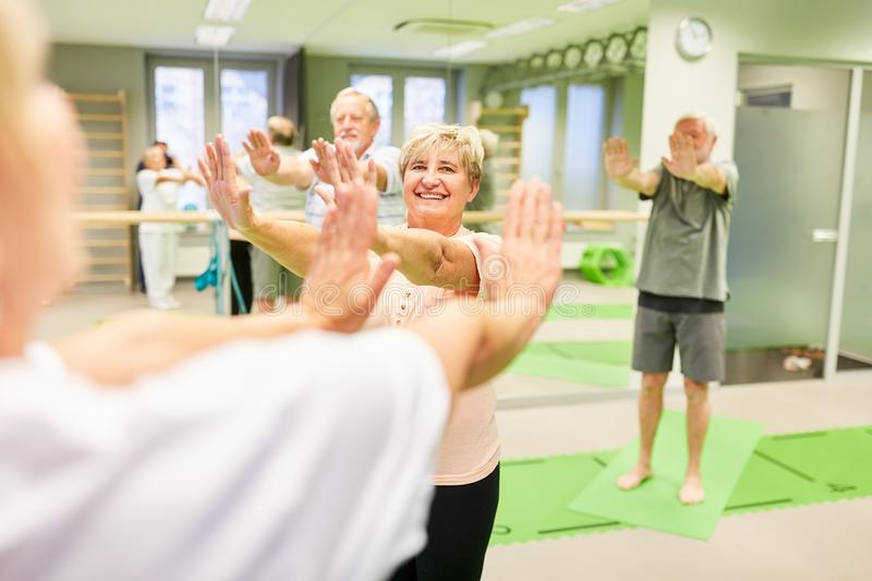 Seniors do back exercises in physiotherapy. Seniors do a back exercise in physiotherapy under the guidance of the trainer royalty free stock photos