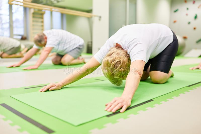 Seniors do stretching exercise for the back. In the physiotherapy in the rehab royalty free stock images