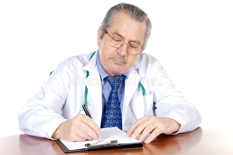 Seniors doctor writing royalty free stock photos