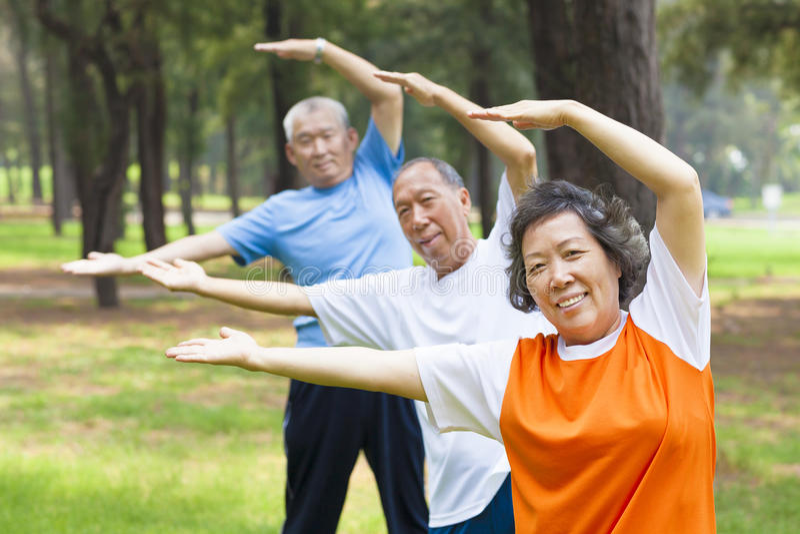 Seniors doing gymnastics in the park stock photos