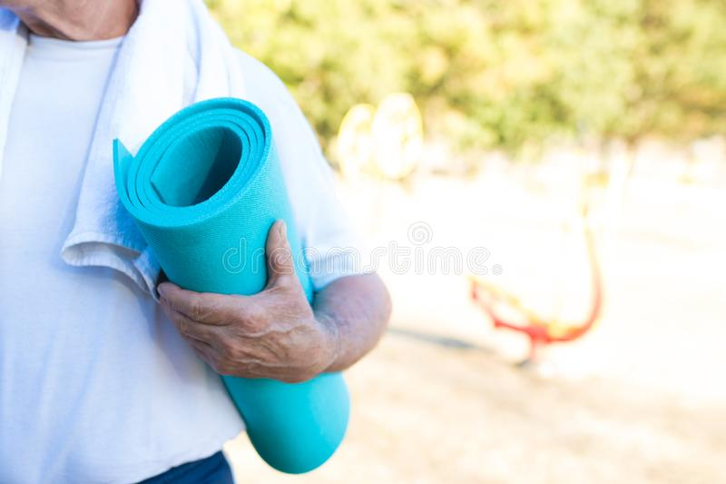 Seniors doing sport outdoors royalty free stock images
