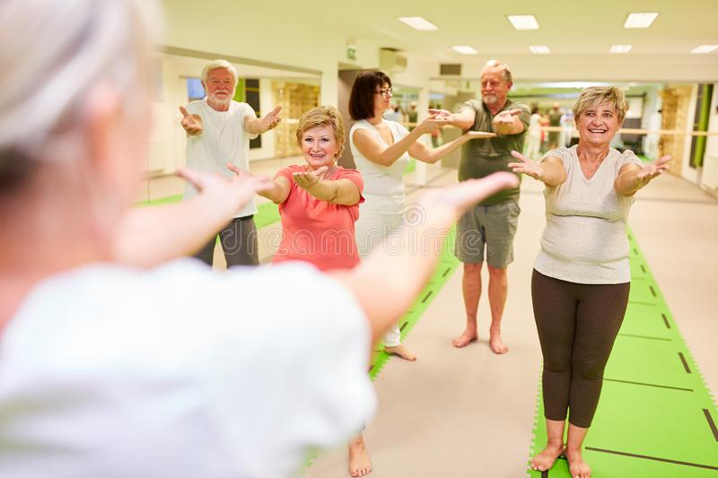 Seniors exercise in a back exercises course. In rehab with coach care royalty free stock photos