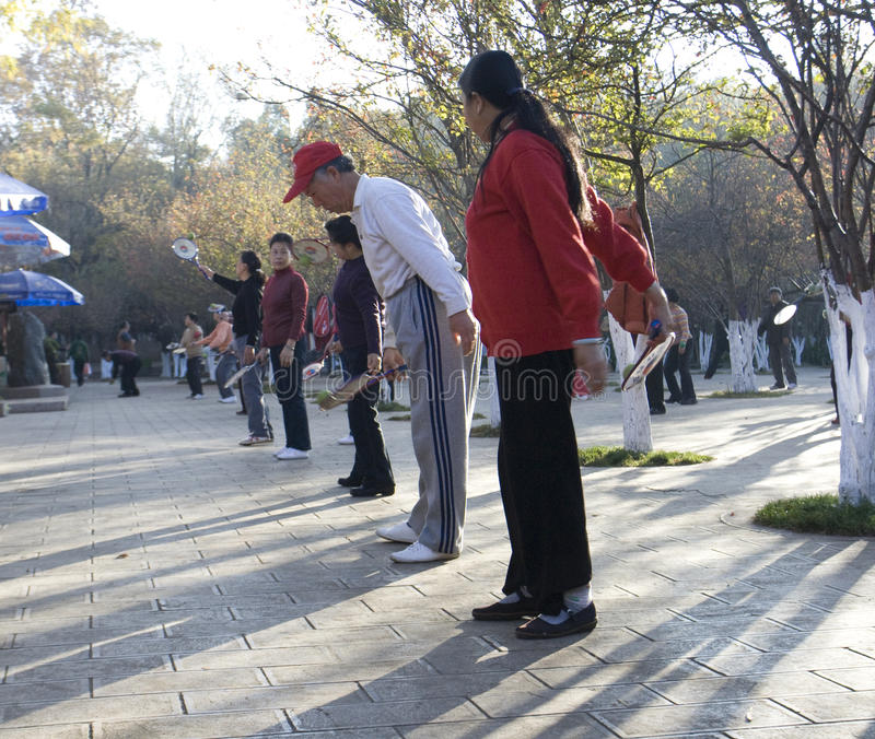 Seniors exercising in a park. Chinese seniors exercising in Cuihu park, Kunming, Yunnan, China royalty free stock photography