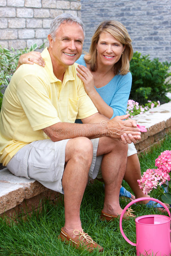 Seniors gardening stock photos