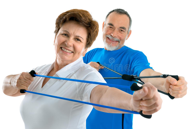 Seniors in gym stock images