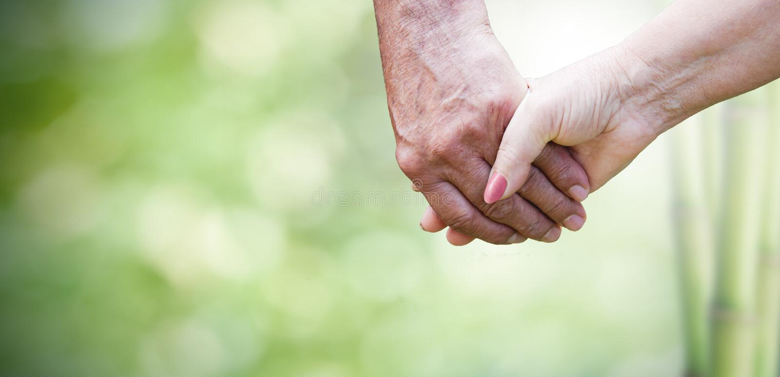 Couple and love in the elderly stock photos