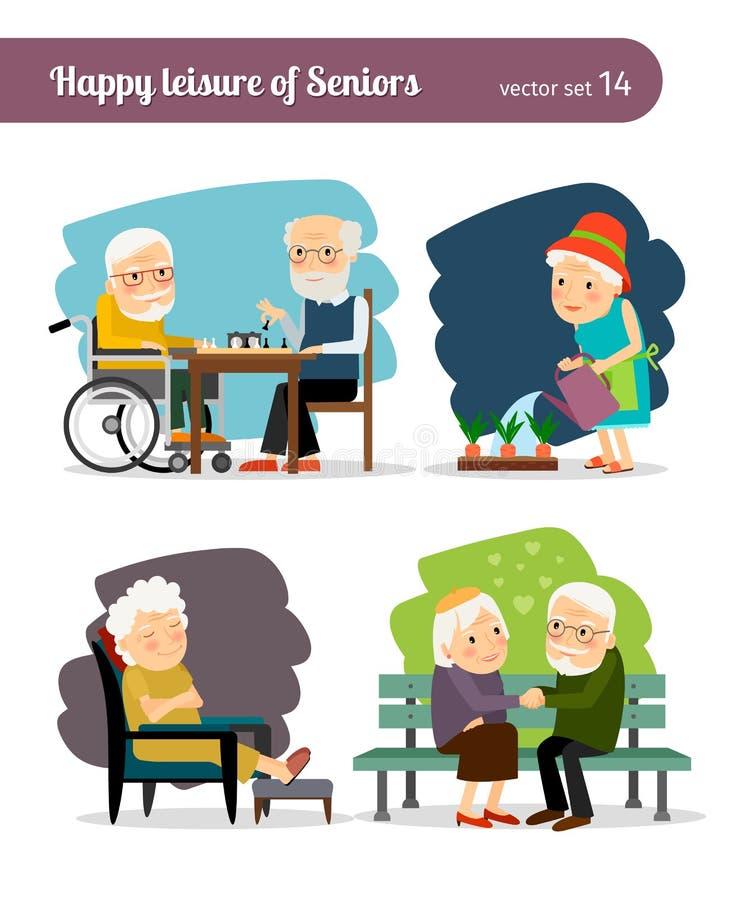 Seniors happy leisure stock illustration