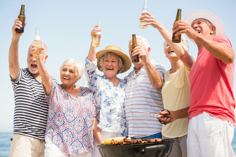 Seniors having barbecue. On a sunny day stock image