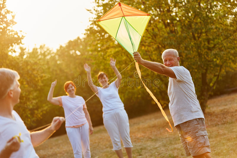 Seniors having fun whith kite flying. In the nature in autumn royalty free stock photos