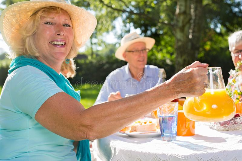 Seniors having picnick outdoors in sunshine royalty free stock images