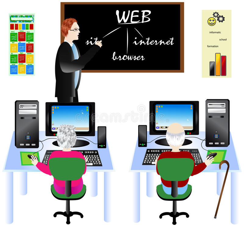 Download Seniors learning computer stock vector. Illustration of computer - 12731810