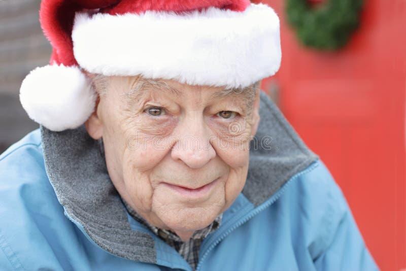 Seniors man christmas joy stock image