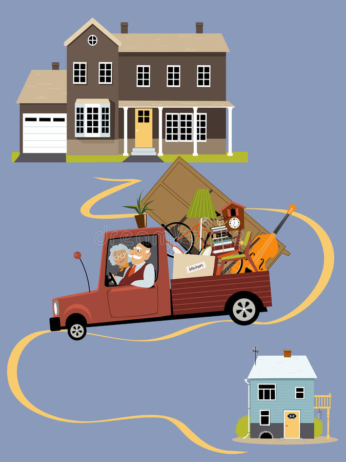 Seniors moving to a new home vector illustration