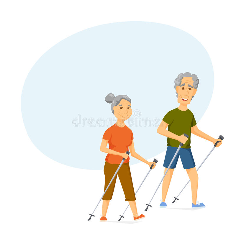 Seniors nordic walking. Pensioners walk together. Old man and women leisure. Cartoon character sport vector illustration. Elderly people hiking and have a fun vector illustration