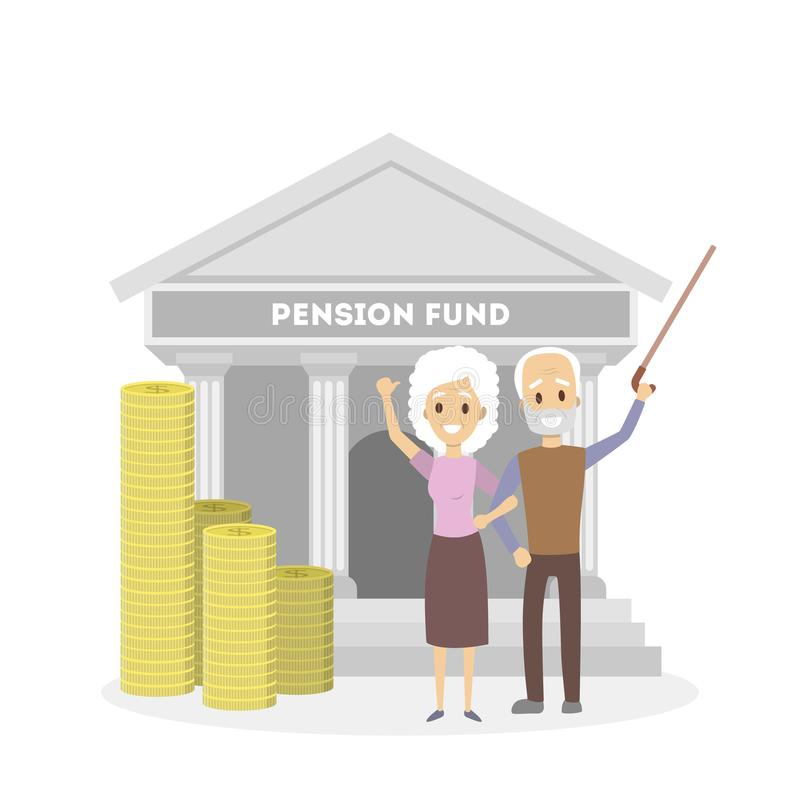 Seniors with pension fund. Happy seniors with pension fund and coins stock illustration
