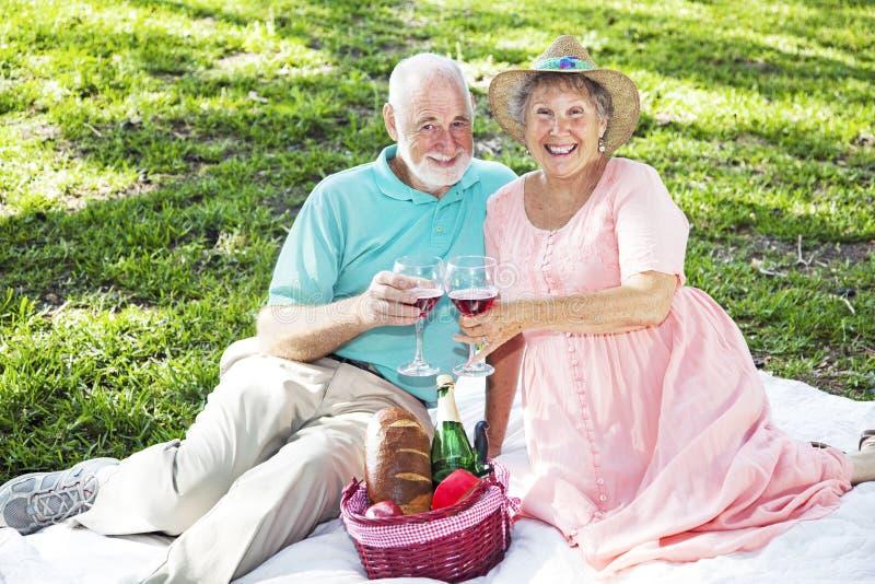 Seniors on Picnic Blanket stock photography
