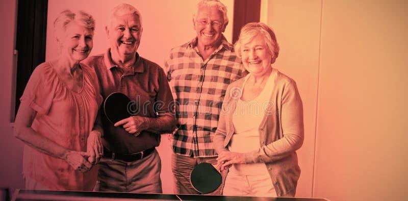 Seniors playing ping-pong royalty free stock photos