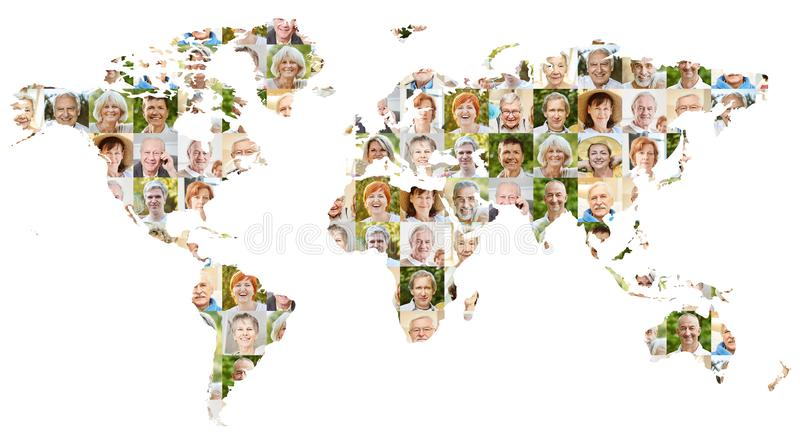 Seniors portrait collage on world map stock photography