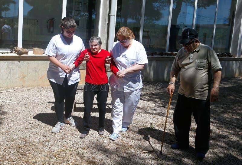 Seniors during their daylife on a nursing home in Mallorca stock photos