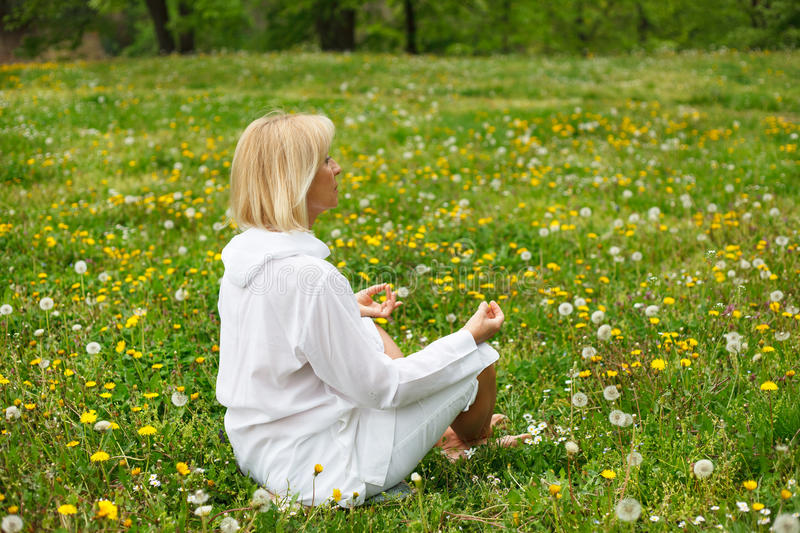 Seniors relaxing and meditating in the park. During summer royalty free stock images