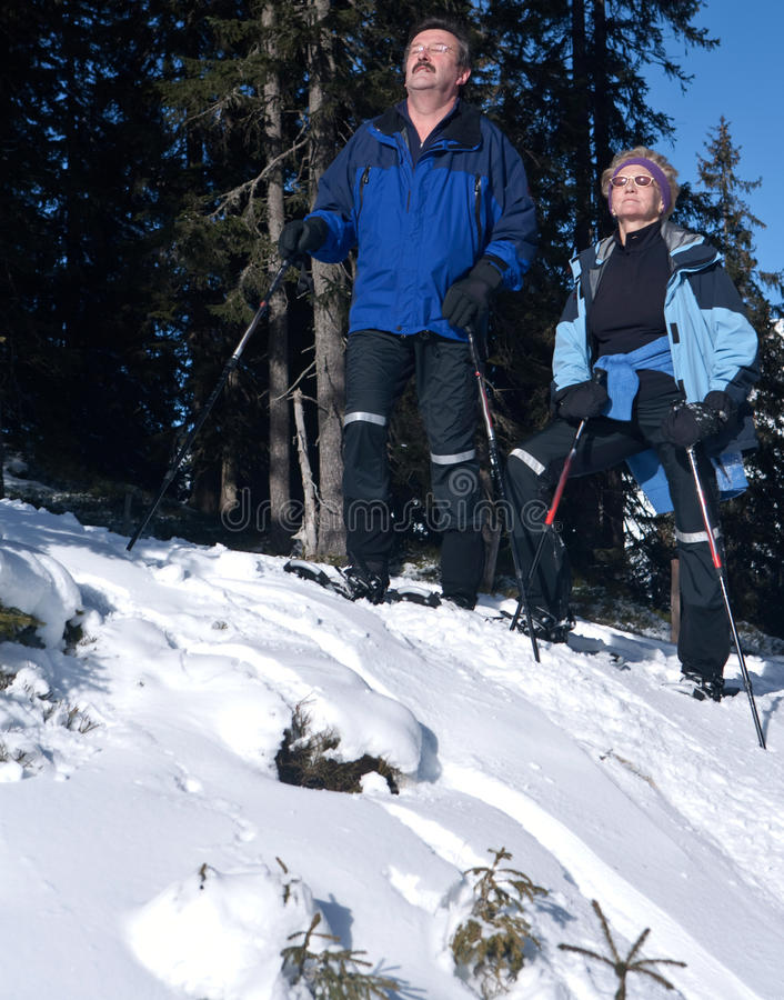 Seniors relaxing in winter. Two acive seniors in an alpine setting enjoying the sun. They wear snowhoes and have ski poles royalty free stock images