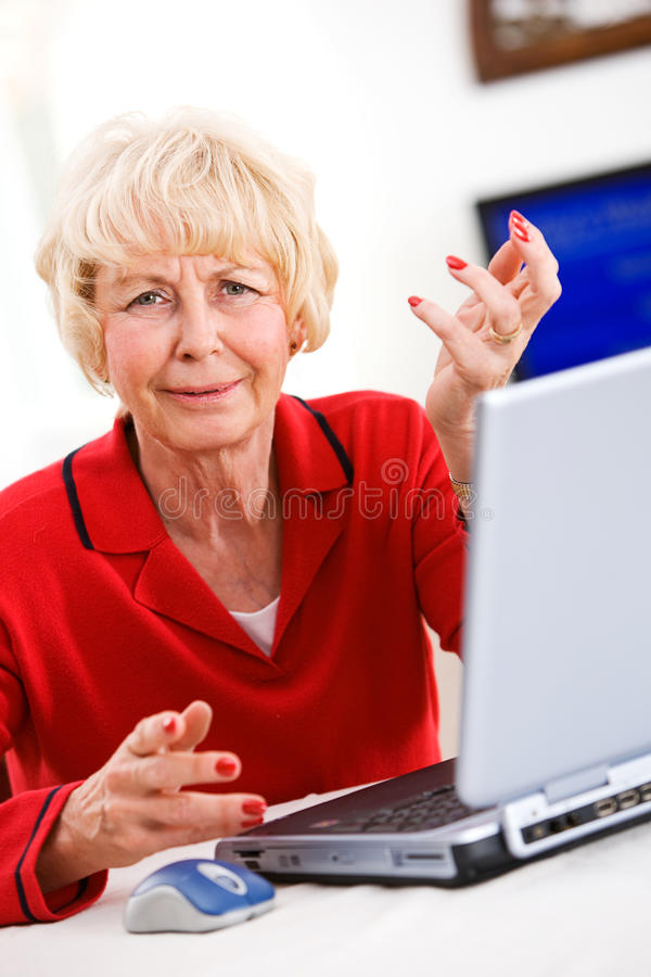 Seniors: Senior Woman Confused By Laptop royalty free stock images