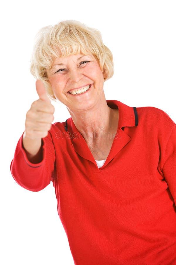 Seniors: Senior Woman Gives Thumbs Up stock image