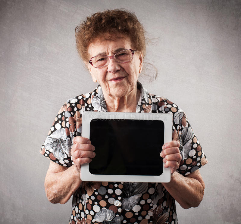 Seniors with tablen pc stock photo