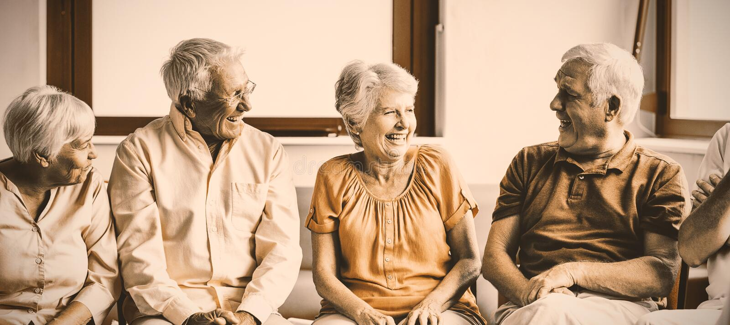 Seniors talking to each other royalty free stock photo