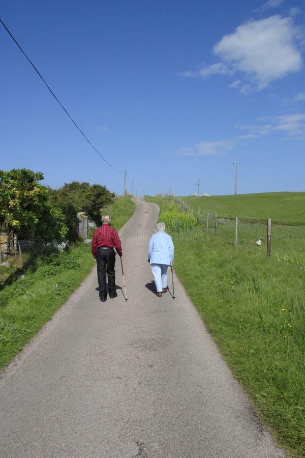 Seniors walkings royalty free stock images