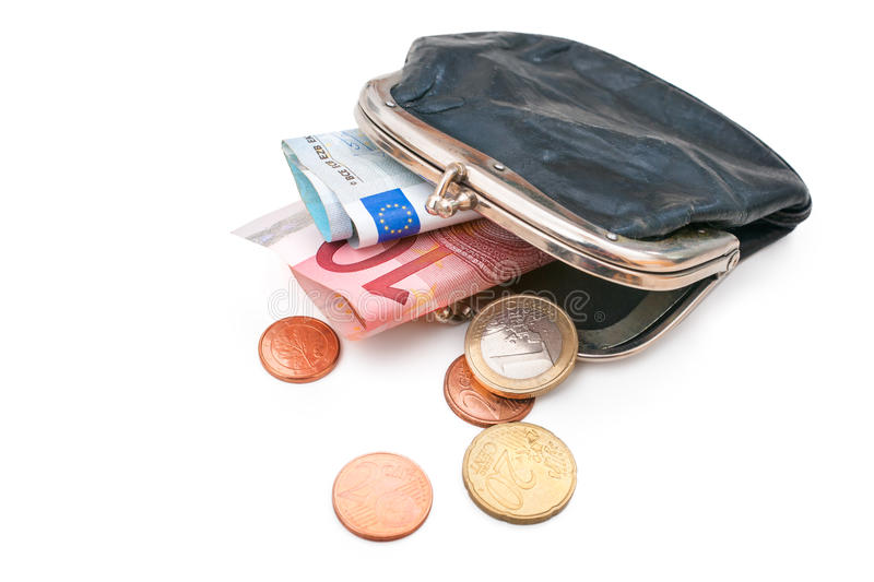 Seniors wallet with Euro currency. Debt and poverty stock photography