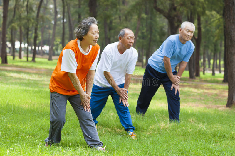 Seniors are warming up before jogging in the park. Outside stock image