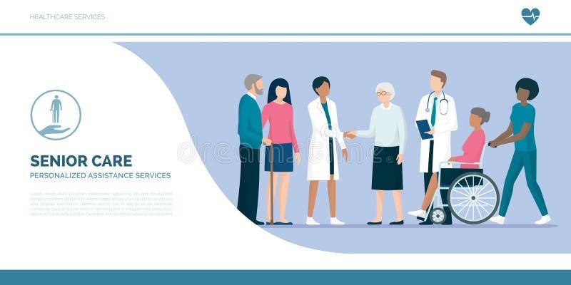 Seniory z drużyną fachowi opiekuny i lekarki ilustracja wektor