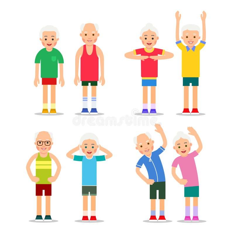 seniorzy aktywnych Starzy człowiecy i kobiety w różnych gym pozach Szczęśliwy royalty ilustracja