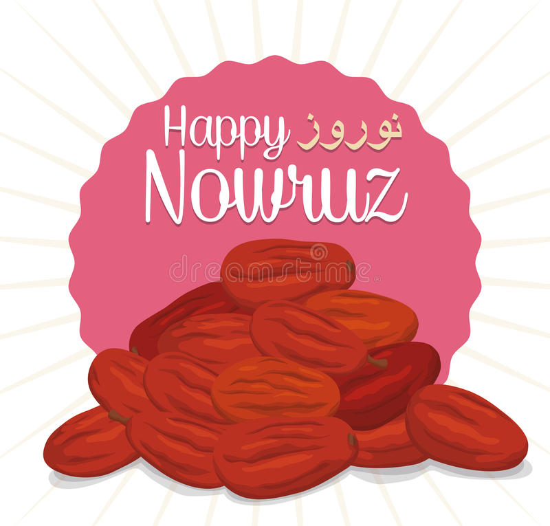 Senjed dried Fruits with Greeting Message for Nowruz, Vector Illustration. Dried wild olive fruits o senjed in Haft-Seen tradition for Nowruz vector illustration