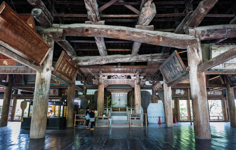 Senjokaku (Toyokuni Shrine) on Miyajima Island. Miyajima, Japan - May 6, 2016: Interior of Senjokaku (Toyokuni Shrine) on Miyajima Island. Miyajima island is a royalty free stock images