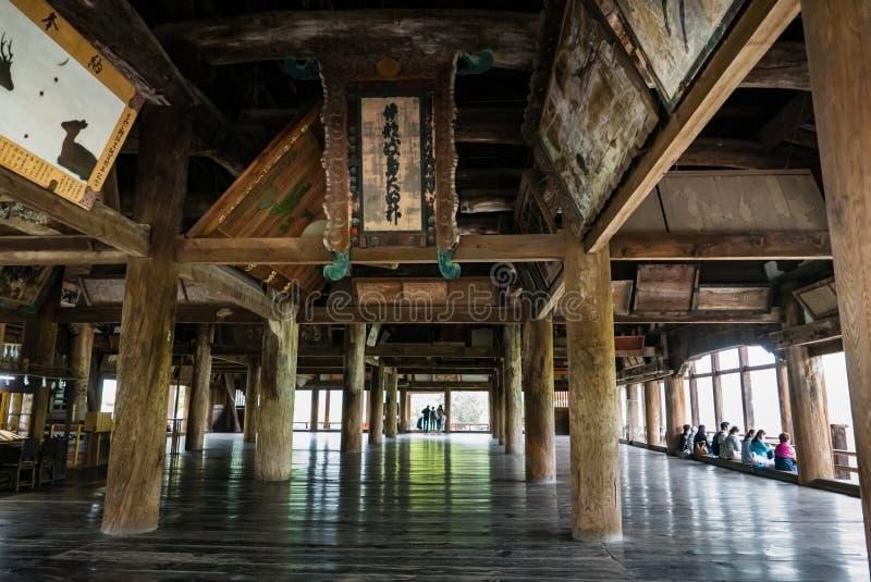 Senjokaku (Toyokuni Shrine) on Miyajima Island. Miyajima, Japan - May 6, 2016: Interior of Senjokaku (Toyokuni Shrine) on Miyajima Island. Miyajima island is a stock photos