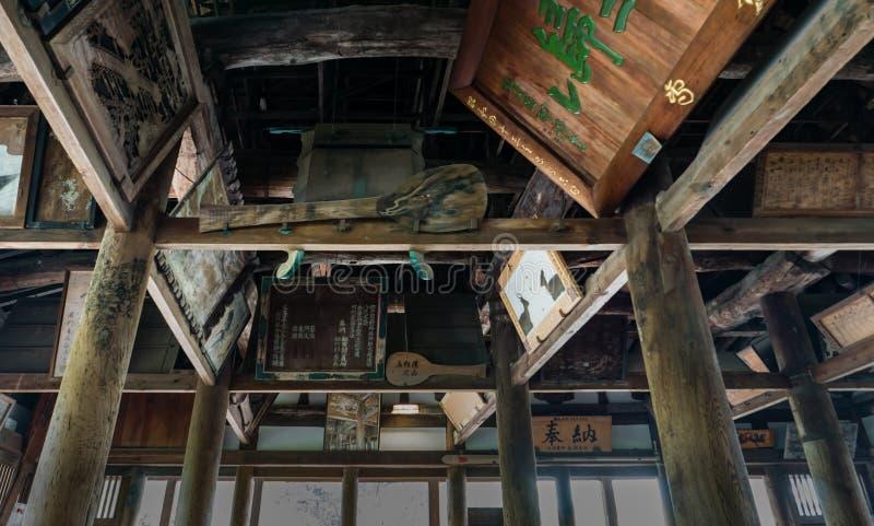 Senjokaku (Toyokuni Shrine) on Miyajima Island. Miyajima, Japan - May 6, 2016: Interior of Senjokaku (Toyokuni Shrine) on Miyajima Island. Miyajima island is a stock images