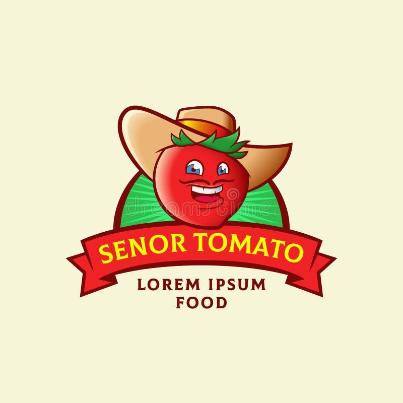 Senor Tomato Abstract Vector Sign, symbole ou Logo Template Visage espagnol de sourire drôle de moustache d'homme dans un chapeau illustration stock