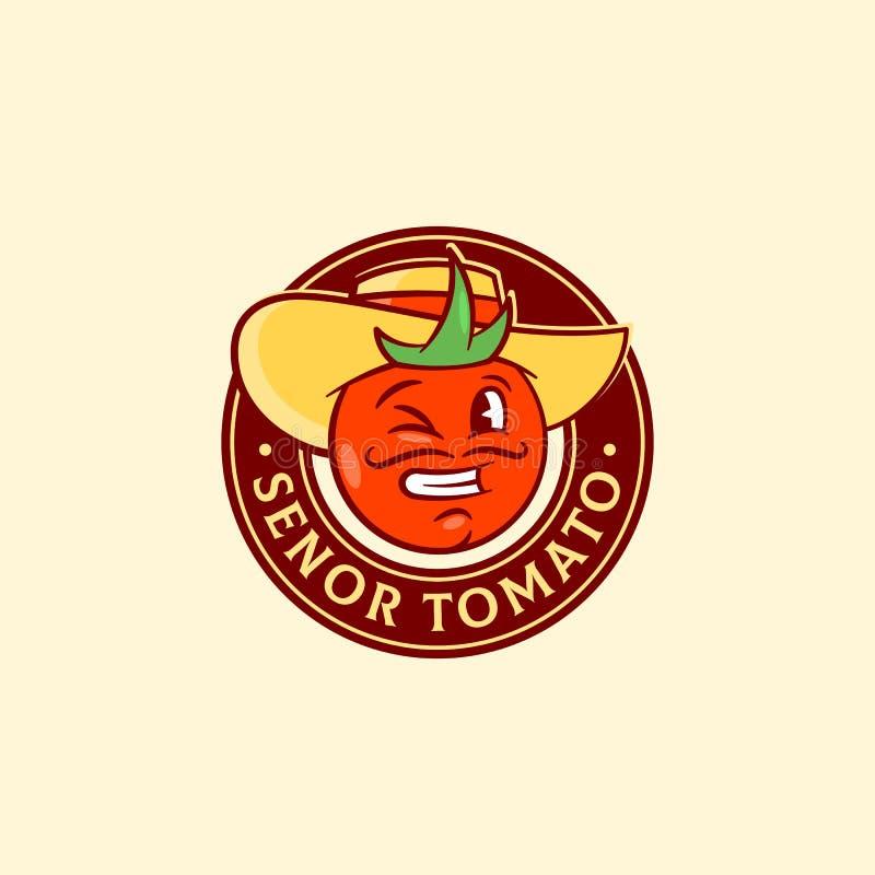 Senor Tomato Abstract Vector Sign, symbole ou Logo Template Visage espagnol de sourire et clignotant drôle d'homme dans un chapea illustration de vecteur