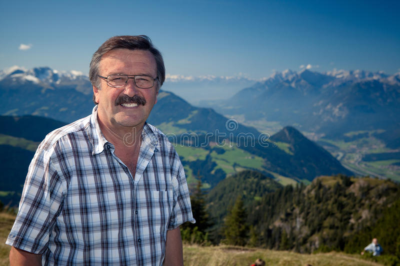 Senor on top of the mountain royalty free stock images
