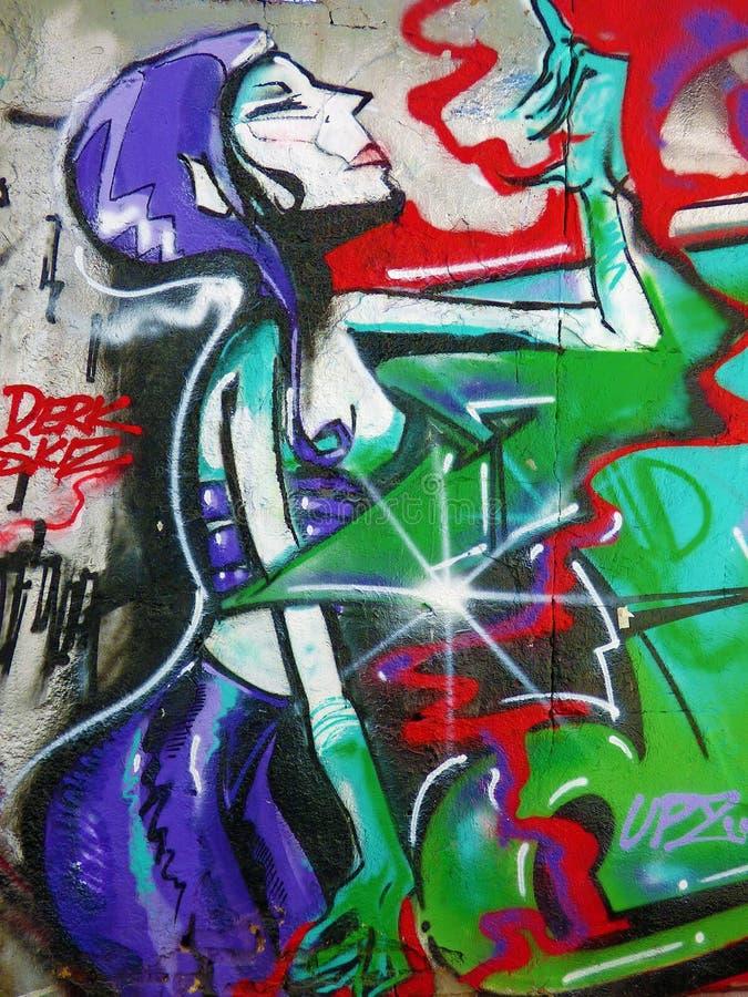Senora Пурпурн Шикарный Специя - искусство улицы Валенсия стоковое фото