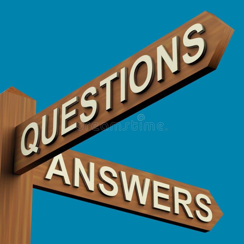 Sens de questions ou de réponses sur un poteau indicateur illustration stock