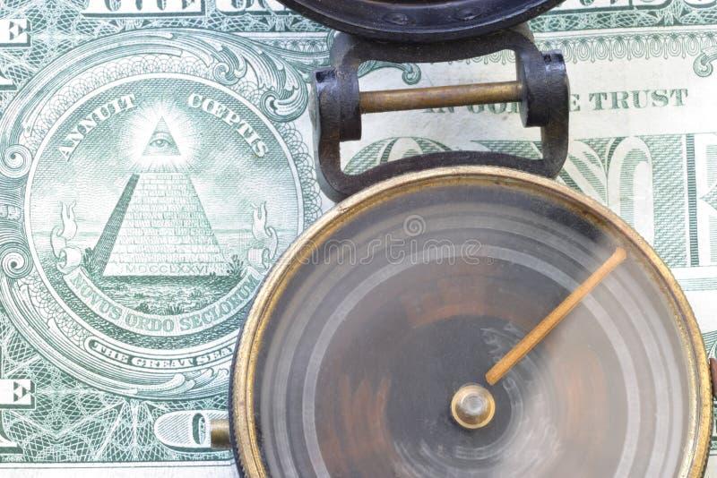Sens et compas de rotation du dollar US 3485 de $, Un billet d'un dollar image stock