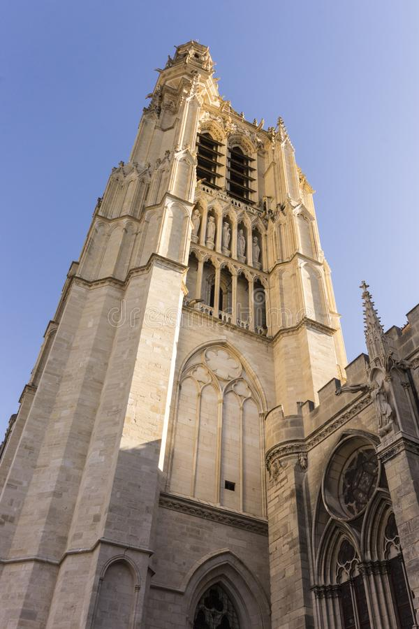 Sens, France. The Cathedral of Saint Stephen of Sens, a Catholic cathedral in Sens in Burgundy, eastern France, largest of the early Gothic churches stock photos