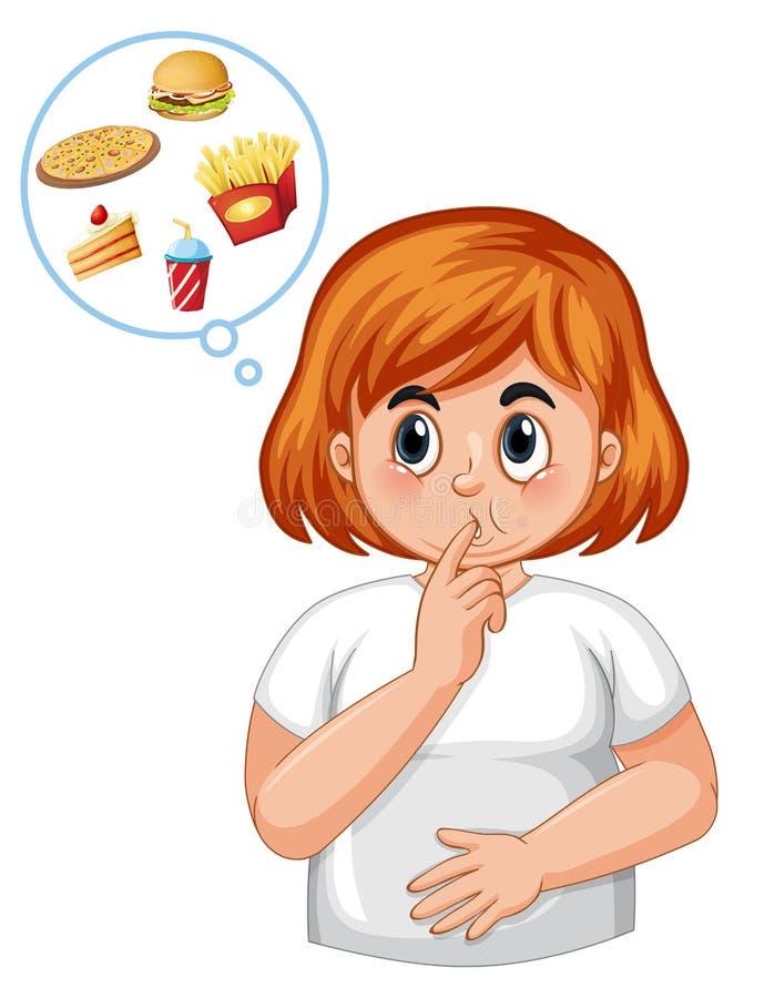 Sensação da menina do diabético com fome ilustração royalty free