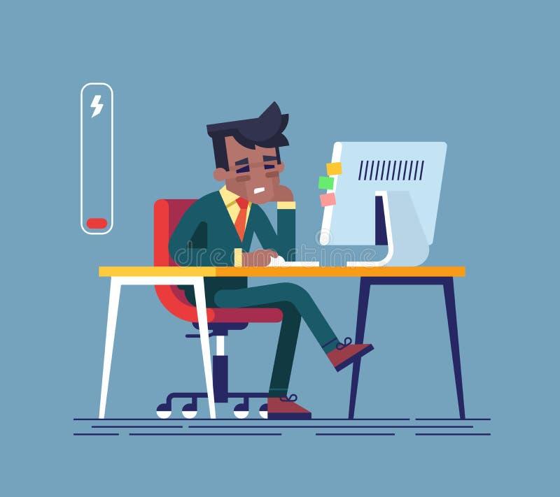 Sensación agotada Hombre afroamericano cansado que se sienta en su lugar de trabajo con el ordenador en oficina Ilustración del v libre illustration