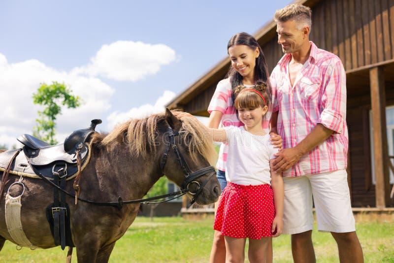 Sensación de la muchacha asombrosa mientras que toca la situación del caballo cerca de padres imágenes de archivo libres de regalías