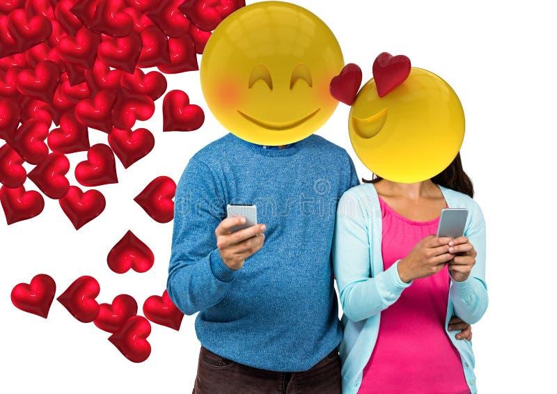 Sensación de los pares en amor Emoji hace frente stock de ilustración